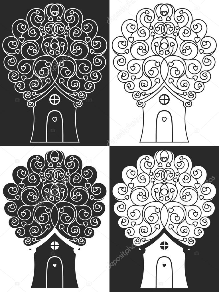 Monochrom illustration of tree with door,  window, leafs like hearts  Stock Vector #20064729