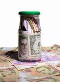 Glass jar with money — Stock Photo