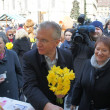 Zagreb,Croatia. March 23rd, 2013. Daffodil Day in Zagreb held at Flower square. Here is Minister of Health Rajko Ostojic - Stock Photo