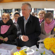 Zagreb,Croatia. March 23rd, 2013. Daffodil Day in Zagreb held at Flower square. Here is Minister of Health Rajko Ostojic - Foto de Stock