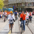 Zagreb,Croatia. Orange bike ride in Zagreb.Organized cycling through the streets of Zagreb, with the aim of promoting tolerance in traffic for the conference participants citizens and guests of Zagreb - Stock Photo