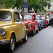 "Zagreb, Croatia. 11th May 2013. Fico fan club organized a ride through the streets of Zagreb. ""Zastava 750"" is the official name of a small car, known by his nickname Fico or Ficek. - Stock Photo"