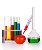 Laboratory glassware with various colored liquids and tomato with syringe — Stock Photo