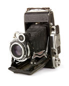Old vintage black camera — Stock Photo