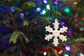 Christmas toy as a snowflake — Stock Photo