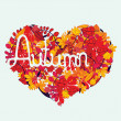 Autumn love with lettering — Stock Vector