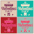 Greeting card for Valentine's Day. Set and seamless pattern — Stock Vector