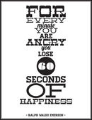 For every minute you're angry you lose 60 seconds of happiness — Vettoriale Stock