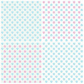 Pattern of hearts in tones of blue and pink — Stock Vector