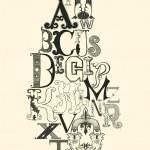Постер, плакат: Black alphabet letters