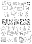 Hand drawn vector illustration set of business. — Stock Vector