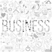 Decorative elements of the word business. Business doodles. Typo — Stok Vektör