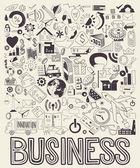 Hand drawn  illustration of business doodles elements — Stock Vector