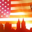 Royalty-Free Stock Vector Image: Silhouette of the NYC with American flag on background