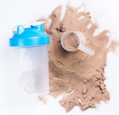 Shaker and protein powder — Stock Photo