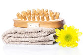 Towel and brush for massage — Stock Photo