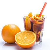 Cold cocktail with orange fruit — Stok fotoğraf