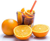 Cold cocktail with orange fruit — Stock Photo