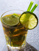 Fresh ice tea with lime — Stock Photo