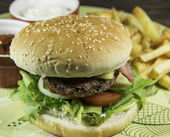 Hamburger with French Fries — Stock Photo