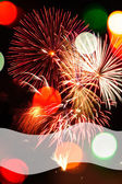 Multicolored Bokeh Lights and Fireworks Background — Foto Stock