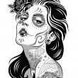 Stock Vector: Day of dead girl black and white illustration