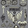 Motorcycle Vector Elements Set — ベクター素材ストック