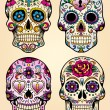Day of the dead vector illustration set — Stockvectorbeeld