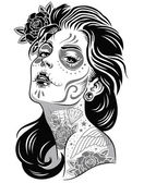 Day of dead girl black and white illustration — Stock Vector