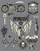 Motorcykel vektor element set — Stockvektor