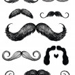 Hand drawn mustache set — Stock Vector