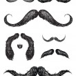 Stock Vector: Hand drawn mustache set