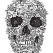 Vector de stock : Flower Skull