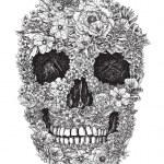 Flower Skull — Stock Vector