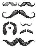 Hand drawn mustache set — Stock Vector