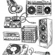 Sketchy Music Elements Vector Set — Vettoriali Stock