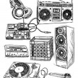 Sketchy Music Elements Vector Set — Stockvektor
