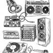 Sketchy Music Elements Vector Set — Stock Vector