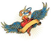Flaming Heart Tattoo Illustration — Stock Vector