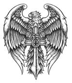 Highly detailed Eagle with Sword — Vetor de Stock