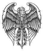 剣を持つ非常に詳細なワシ — ストックベクタ