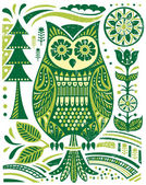 Ornate Woodblock Style Owl — Stock Vector