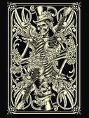 Classic Skeleton Playing Card — Stock Vector