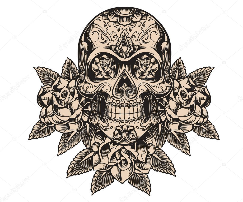 Skull and roses sketch vector — Stock Vector © m.j.h1nkle ...