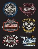 Vectores vintage moto placa temática — Vector de stock