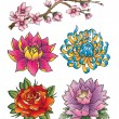 Stock Vector: Tattoo Flower Set