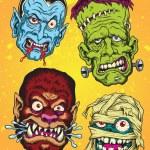 Halloween Monster Head Vector Set — Stock Vector #31073009
