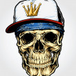 Skull with Bandanna and Cap — Imagen vectorial