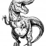 Tyrannosaurus Dinosaur Vector Linework Illustration — Stock Vector #31278607