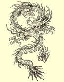 Ilustración del tatuaje del dragón — Vector de stock